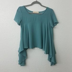 Haute society blouse XS blue Asymmetrical hem